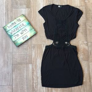 Volcom Sexy Black Crochet Split Middle Dress